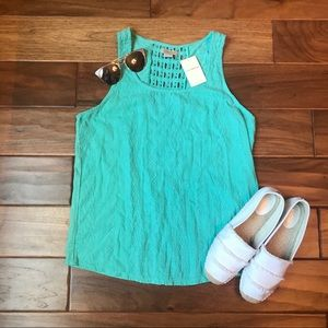 Lucky Brand Teal Embroidered Tank Top